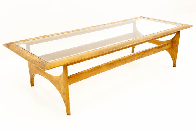 Adrian Pearsall for Lane Mid Century Walnut & Glass Sculptural Coffee Table - mcm by ModernHill