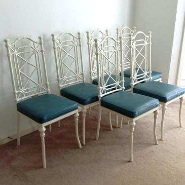 Set of 6 Kessler Faux Bamboo White Aluminum Dining Chairs by ModernPicks