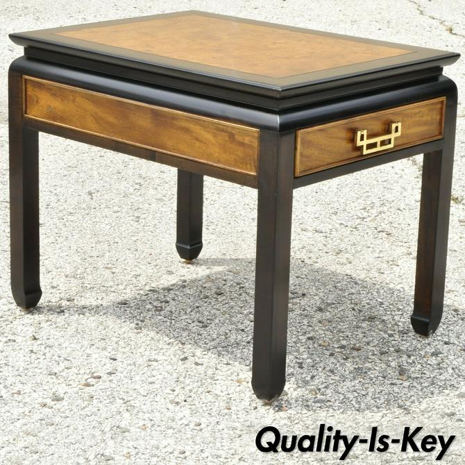 Century Furniture Chin Hua Burl Wood Black Lacquer One Drawer Lamp End Table