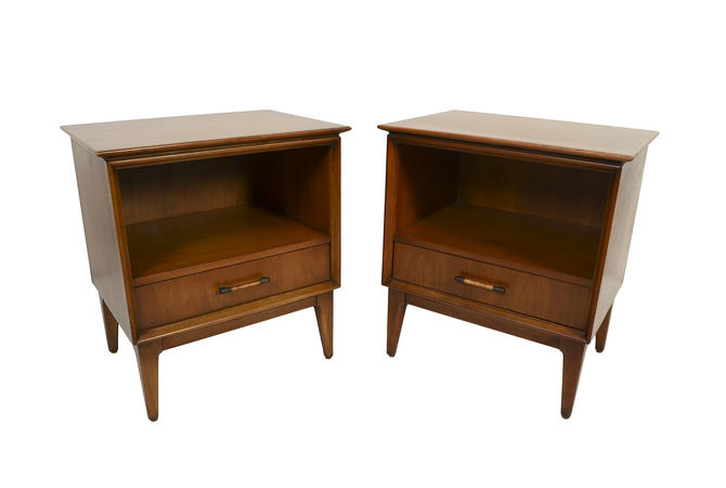 Nightstands Walnut Cane Wrapped Pulls Mid Century Modern by HearthsideHome