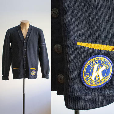 Vintage 1950s Varsity Sweater / Vintage Letterman Sweater / Vintage 1960s Varsity Cardigan / Collegiate Sweater / Vintage Key Club Patch by milkandice