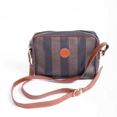 Vintage FENDI Pequin 1980s Crossbody Striped Leather and Coated Canvas Bag Logo FF Brown Black 80s Zucca by backroomclothing
