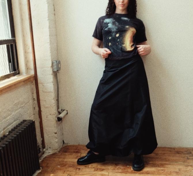 Zara Elastic Bottom-Rimmed Maxi Skirt
