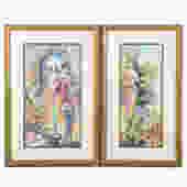 Two Framed Watercolors of Ladies in Gardens