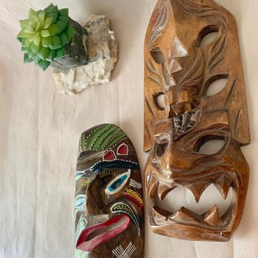 Tiki Masks Tribal Carved Wood, Set 2 Wall Hangings, Patio Decor Mid Century, Plaques Totem Vintage by GabAboutVintage