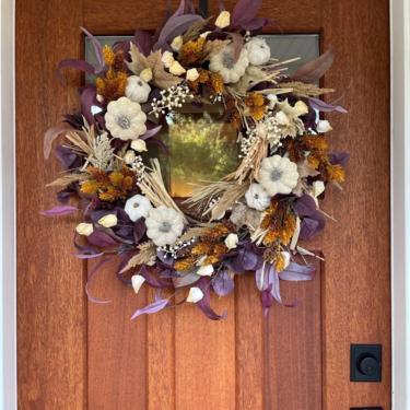 Purple Leaf Eucalyptus, Pampas Grass and Hops Wreath, Purple Fall Wreath, Plum Wreath, Eucalyptus Wreath, Fall Wreath for Front Door by NovaWreaths