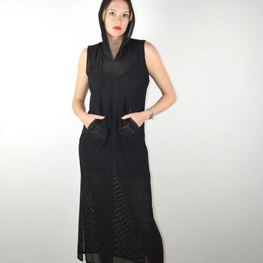 Vintage Y2K 90s Black Dress / Speedo Hooded Hoodie Y2K 90s Mesh Dress / Stretch Sheer 1990s 2000s / Gothic Industrial Raver / Small Medium by ErraticStaticVintage