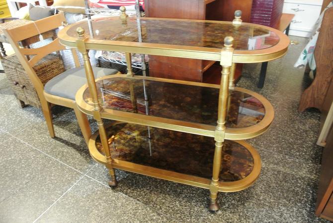 Rolling Gold Bar Cart - $225