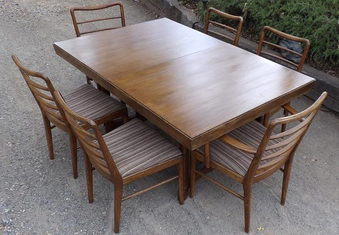 Oak Dining Table Set With 6 Chairs Mid Century Modern Thomasville Furniture Ladder Back 8