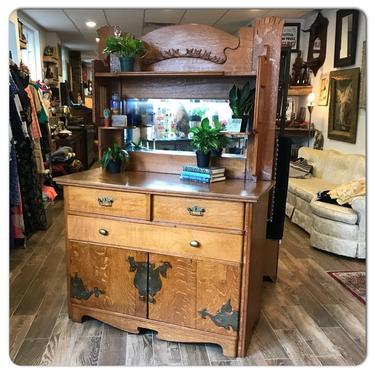 Antique, solid oak vanity