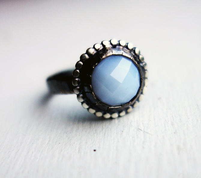 Handmade Sterling Silver Rose Cut Chalcedony Ring by RachelPfefferDesigns