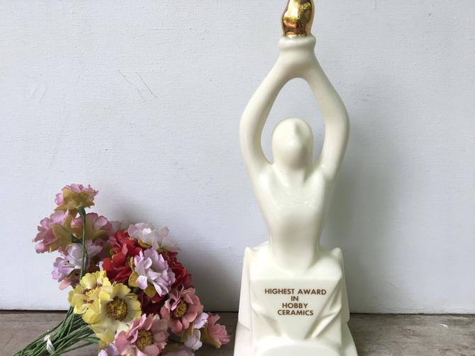 Vintage Ceramics Award, Potter's Award By Freddy, Ceramic Trophy, Fredde Siden, White Ceramic Award With Gold Torch, Art Studio Decor by luckduck