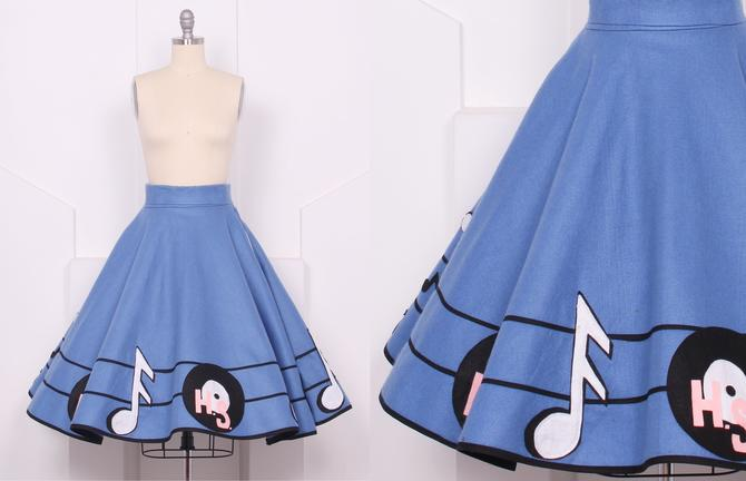Vintage 1950's Blue Felt Swing Circle Skirt • 50's Bright Blue Sock Hop  Poodle Skirt • Size S by houseofprettyparlor