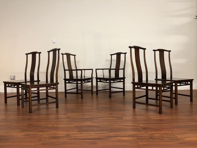Baker Furniture Far East Collection Dining Chairs by Michael Taylor - Set of 6 by Vintagefurnitureetc