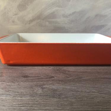 Vintage Orange Copco enameled cast iron baking dishes by Michael Lax, MID Century Modern Enamelware by PKFlamingoVintage