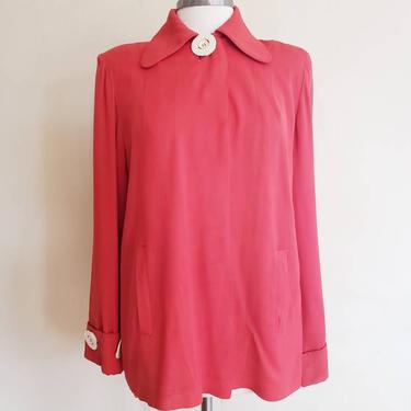 1940s Red Wool Blend Swing Jacket Cream Buttons / 40s Long Sleeved Loose A Line Blazer Big Shoulders Orange Coral / L / Hattie by RareJuleVintage