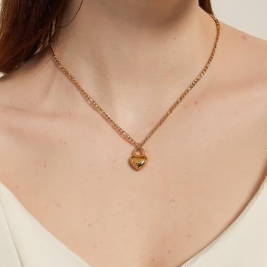 linda gold Puffed Heart lock Pendant Necklace, gold heart lock necklace, Simple Heart lock Charm Necklace, gold heart pendant necklace, gift by MelangeBlancDesigns