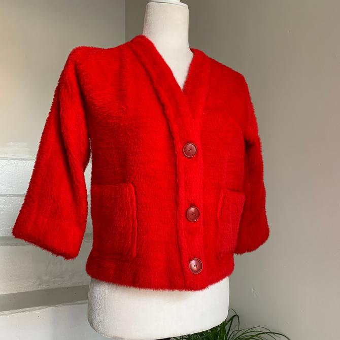 1960s Faux Fur Red Plush Cropped Jacket 36 Bust Vintage by AmalgamatedShop