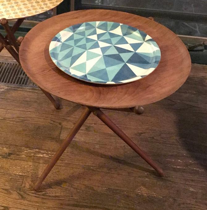 Nils Trautner Tripod Teak Tray Table Vintage Mid-Century by BrainWashington