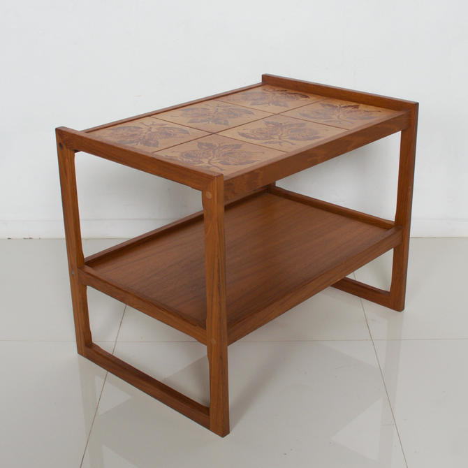 Danish Modern Teak Table Cart Bar Tea Service Ceramic Tile Top OX ART Denmark by AMBIANIC