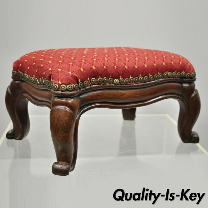 Antique Mahogany Wood French Empire Style Small Petite Stool Footstool Ottoman
