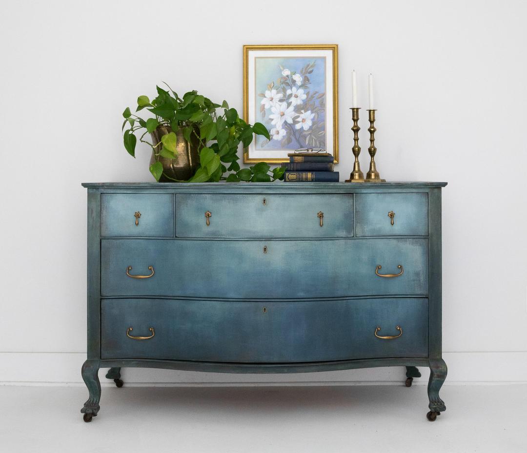 Hand Painted Ombre Blue Antique Dresser