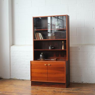 Danish Rosewood Wall Unit with Sliding Glass doors and Cabinet Bay by NijiFurnishing