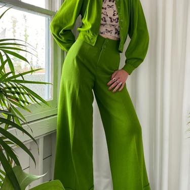 70s Green Bellbottom Pant Suit