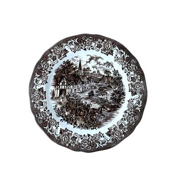 """Brown Transferware """"Stratford Stage"""" Plate by J & G Meakin by FunkyRelic"""
