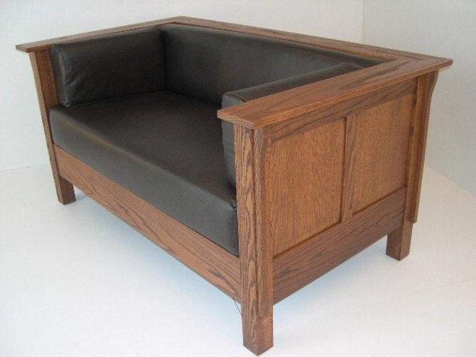 Mission Arts & Crafts Stickley style Panel Leather Settle Loveseat by DaleMartinFurniture