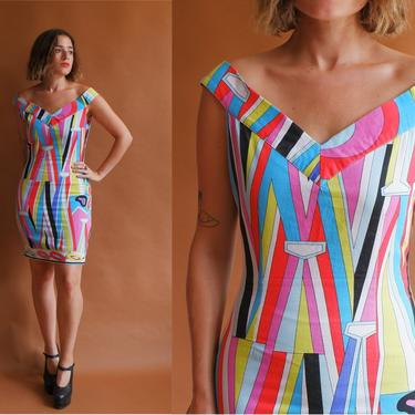 Vintage 90s Colorful Pucci Style Cotton Mini Dress/ 1990s Off The Shoulder Body Con/ Size XS Small by bottleofbread