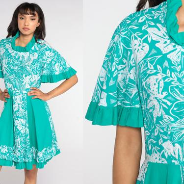 Tropical Floral Dress Hawaiian Dress 80s Mini Green Fit and Flare Boho Vintage 1980s High Waisted Hibiscus Taupe White Short Sleeve Medium by ShopExile