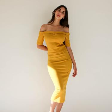 Vintage 90s Y2K BEBE Golden Yellow Dyna Suede Off The Shoulder Blouse & High Waisted Pencil Skirt Set | Made in USA | Designer Two Piece Set by TheVault1969