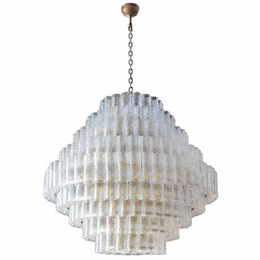 Large Custom Tiered Murano Chandelier with Clear Glass Tubes