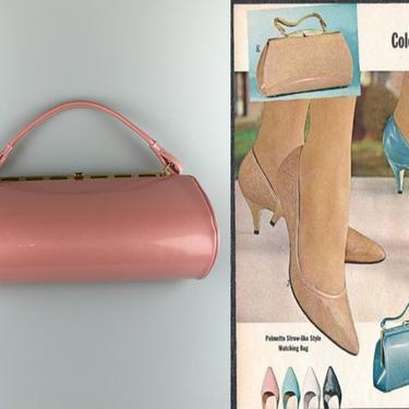 Oh It Was Mauvelous - Vintage 1950s 1960s NOS Mauve Pink Faux Patent Leather Vinyl Handbag Purse by RoadsLessTravelled2