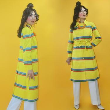 Vintage 70s 1974 Marimekko Design Research Label Dagger Collar Striped Shirt Dress /SZ S M/ 1970s Pocket Cotton Work Coat Apron Duster MOD by TheeAppleBoutique