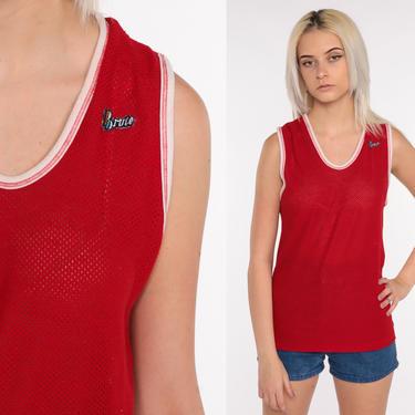 Red Ringer Tee 'BRUTE' Mesh Tank Top 70s Shirt SHEER Shirt 80s Retro Shirt Cut Out Sleeveless Top 1970s Vintage Cutout Plain Small Medium by ShopExile