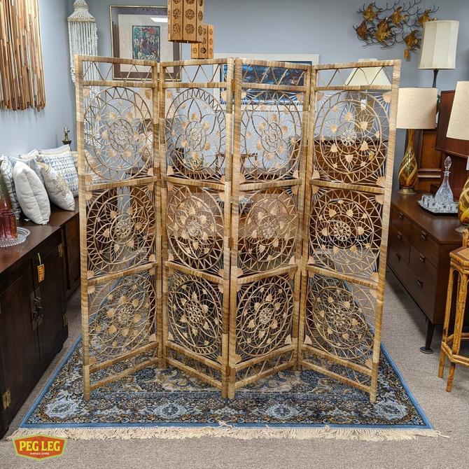 Boho room divider screen in rattan and seashells
