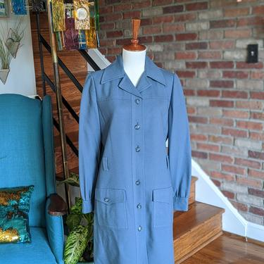 Vintage 1960's 70's Light Blue Trench Coat by Jack Feit by BeesKneesVintageDC