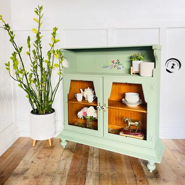 Farmhouse Curio/ glass door bookshelf/ hutch Storage Cabinet. Colorful Entryway Cabinet. Whimsical cabinet / dry bar by withlovefurniture10