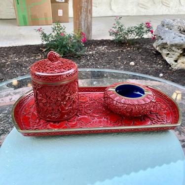 Chinese Cinnabar and Brass Smoking Set with Tray, Lidded Jar, & Ashtray by PrimaForme