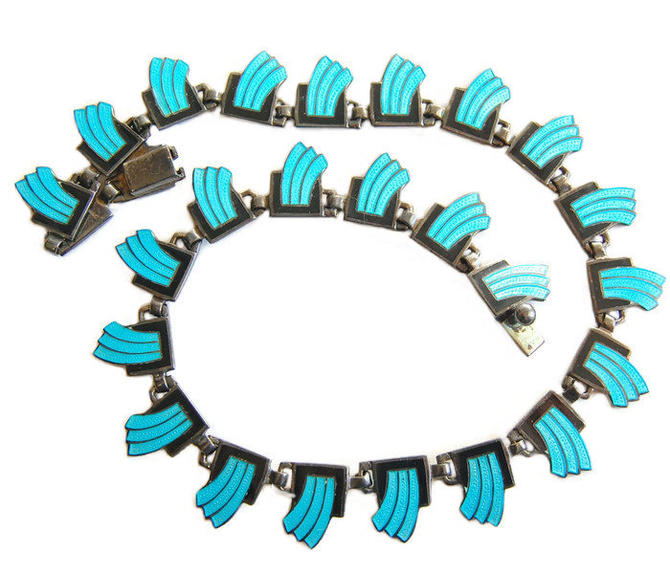 "Margot de Taxco Guilloche Enamel ""Wave"" Necklace RARE Sterling Southwestern Mid Century Modernist Vintage Jewelry FREE SHIPPING by Curiopolis"