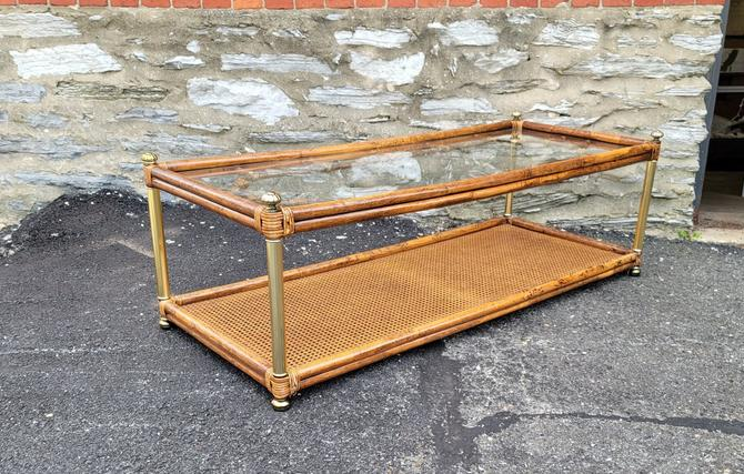Boho Rattan and Woven Wicker Coffee Table with Glass Insert