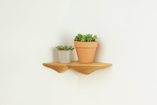 Mushroom Shelf - Ash wood floating corner shelf by HerbsFurniture