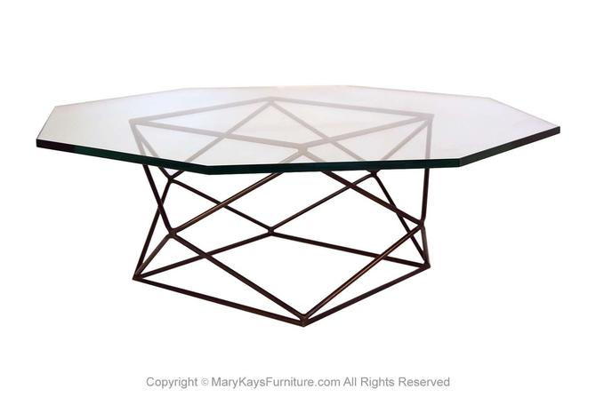 Milo Baughman for Directional Geometric Bronze Glass Coffee Table by Marykaysfurniture