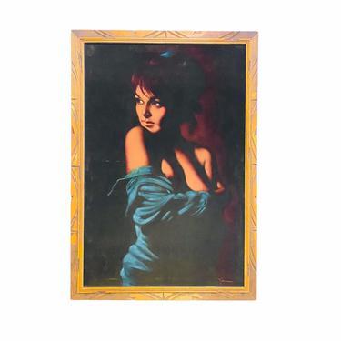 Mid Century Velvet Nude Painting, Boho Nude Woman Art, Tiki Bar Wall Decor, MCM Velvet Painting by VivaLaVintagedotTX