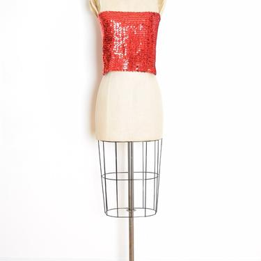 vintage 70s top red sequin disco tube top strapless shirt blouse M medium by huncamuncavintage