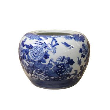 Chinese Blue White Oriental Flower Birds Scenery Porcelain Pot ws1103E by GoldenLotusAntiques