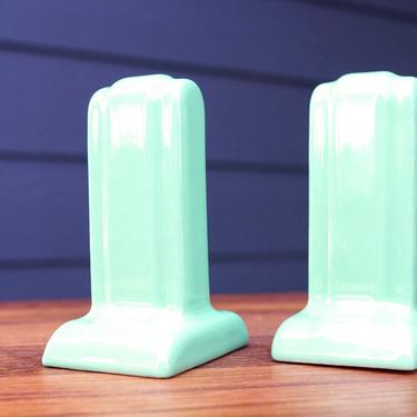 TOWEL BAR HOLDER - Jade Green Porcelain Art Deco/Streamline for Square Bars - Great for Retail Display Racks by CovetModernDesign