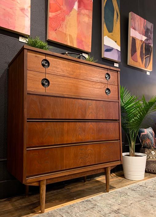Refinished Mid-Century Tallboy Dresser by Stanley